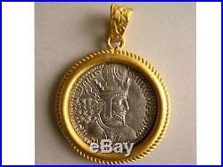 PCW-CH037-Sasanian Kings Shahpur I. Genuine Drachm set in a 24K Pure gold frame