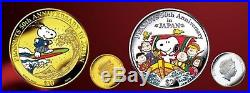 PEANUTS Snoopy Pure Gold & Silver Coin set limited made in JAPAN GIFT rare New