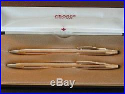 == PERFECT== Vintage Cross 14KT 1/20 Gold filled Pen Pencil set made in usa lot