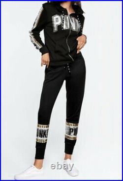 PINK Victoria's Secret VS Black Silver Gold Bling Perfect Set Sweatshirt Pants M
