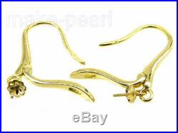 PURE 18K gold leverback earrings setting dangle DIY pearl/gem pin finding a pair