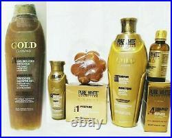 PURE WHITE GOLD GLOWING LOTION 400ml, serum 50ml, Showergel, Oil & SOAP 5pcs Set