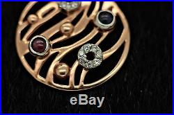 Perfect 14k Gold Zirkon And Ruby Shappire Decorated For Lady Jewellery Set