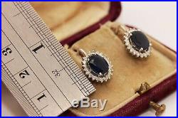 Perfect 18k Gold Diamond And Sapphire Decorated Earring And Ring Set