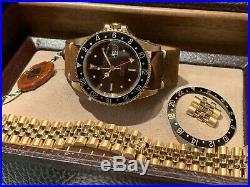 Perfect 1986 Rolex 16758 GMT Master 18k Gold Nipple dial Box & Papers. Full Set