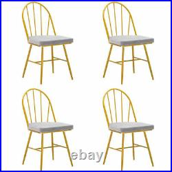 Perfect 4 Piece Set Iron Dining Chairs Arc Back Cushion Marble Dining Table
