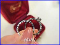 Perfect Art Deco Anniversary Bridal Set Ring 14K White Gold Over 2.15 Ct Diamond