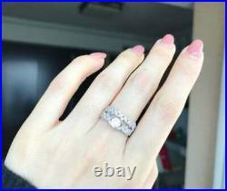 Perfect Art Deco Engagement Bridal Set Ring 14K White Gold Over 2.3 Ct Diamond