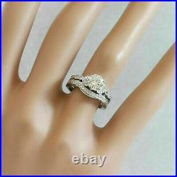 Perfect Art Deco Engagement Gift Bridal Set Ring 14K White Gold Over 2Ct Diamond