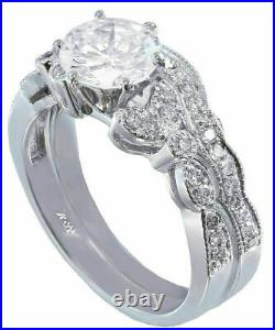 Perfect Art Deco Engagement Gift Bridal Set Ring 2Ct Diamond 14K White Gold Over