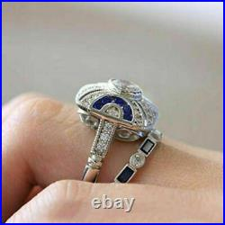 Perfect Bridal Set Engagement & Wedding Ring 1.89 Ct Diamond 14K White Gold Over