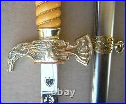 Perfect Bulgarian Fire Forces Officer Parade Dagger Set 2003, dirk, blade, knife