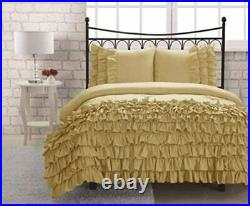 Perfect Collection 5 PC Twin Golden Satin Silky Waterfall Ruffle Duvet Cover Set