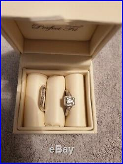 Perfect Fit 9ct White Gold Aquamarine & Diamond Bridal Set