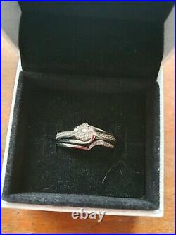 Perfect Fit Bridal Set 9ct White Gold With 0.15ct Diamonds