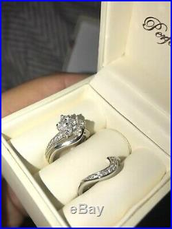 Perfect Fit Flower Bridal Set 9ct Gold 1 Carat Diamond Engagement Ring Set