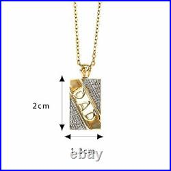 Perfect Fthers Day Gift Solid 9ct Gold Dad Pendant Is Set With 0.10cr Diamond