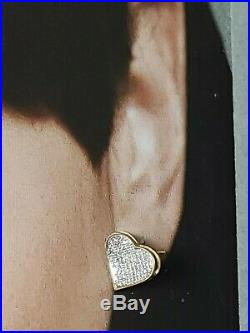 Perfect Pair of 10K Gold Heart Post Earrings with Pave Set Diamonds