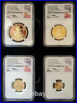 Perfect Set of (4) 2016 W Proof Gold Eagles NGC PF70 Ultra Cameo ENN Coins #SE