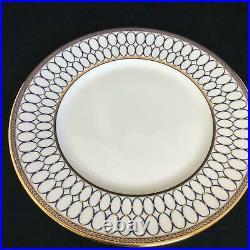 Perfect Set of 4 Wedgwood RENAISSANCE GOLD 10 3/4 Cobalt Blue Dinner Plates