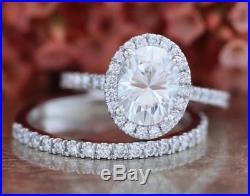 Perfect Valentine Gift Round Diamond Wedding Engagement Ring Set 14k White Gold