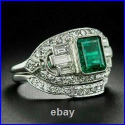 Perfect Vintage Art Deco Milgrain Bridal Set 14k White Gold Over 1.5 Ct Emerald