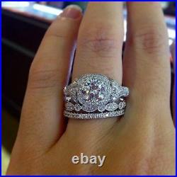 Perfect Vintage Art Deco Trio Set Wedding Ring 2 Ct Diamond 14K White Gold Over