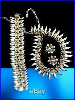 Perfect Vintage Francois (coro) Gold Tone Necklace Bracelet Earrings Parure Set