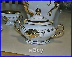 Perfect c1960 24 Piece Walbrzych 50th Anniversary Heavy Gold White Porcelain Set