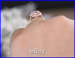 Pretty 2.80 Ct Pear Cut Diamond Engagement Perfect Bridal Ring Set 14k Rose Gold