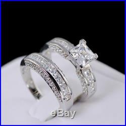 Princess 1.80Ct Diamond Real 14K White Pure Gold Bridal Band Engagement Ring Set