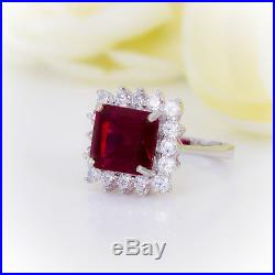 Princess Cut Ruby with Diamond Halo set in Pure White Gold