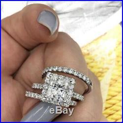 Princess Diamond Ladies Engagement Ring Band Set 10k White Real Pure Gold 2 Ct