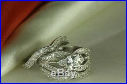 Princess Diamond Real Solid 14K White Pure Gold Bridal Band Engagement Ring Set