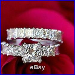 Princess Diamond Solid 14k White Real Pure Gold Ladies Engagement Ring Band Set