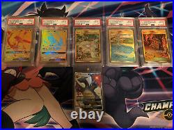 Pristine Hidden Fates Master Set Perfect Charizard + 5 Psa 10 Gold Cards