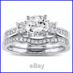 Pure 10k White Gold Diamond 3 Ct Wedding Band Set Women's Engagement Ring