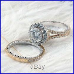 Pure 10k White Real Gold Round Diamond Bridal Set Wedding Engagement Ring