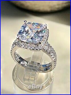 Pure 14K White Real Gold Ladies Bridal Engagement Ring Band Set Cushion Diamond