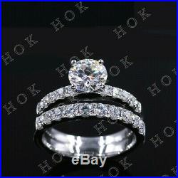 Pure 14k Real White Gold 2Ct Round Cut Diamond Bridal Set Womens Engagement Ring
