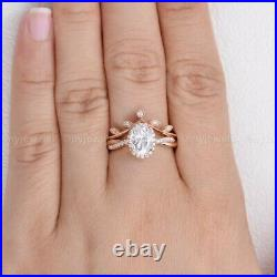 Pure 14k Rose Gold Moissanite Bridal Set Engagement Ring Certified 2.50 CT Oval