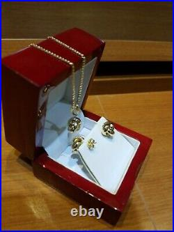 Pure 14k Yellow Gold Set Of Knot Stud Earrings And Pendant(Chain No Included)