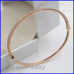 Pure 18K Rose Gold 4mm Set Zircon Band Woman's Bangle 55mm Inner Diameter