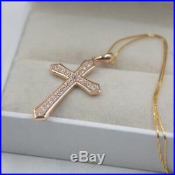 Pure 18K Rose Gold Cross pave set Zircon Bling Pendant Au750