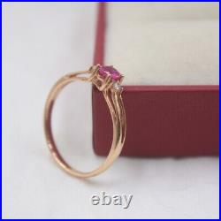 Pure 18K Rose Gold Ring Set Ruby Woman's Ring Size 7.25