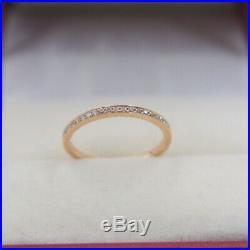 Pure 18K Rose Gold Ring set Diamonds Band Ring Size 5.75