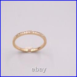 Pure 18K Rose Gold Ring set Natural Diamond Band Ring Size 6