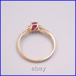 Pure 18K Rose Gold Ring set Oval Ruby Ring Size 7.5