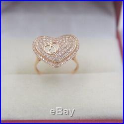 Pure 18K Rose Gold Ring set Zircoina Heart Shape Band Ring Size 5.5