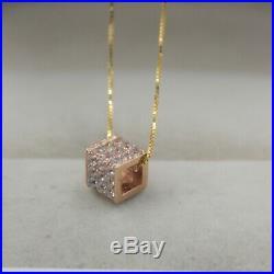 Pure 18K Rose Gold Square Tube pave set Zircon Bling Pendant Au750 6mm L Small